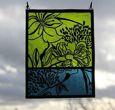 Stained Glass Painted Panel. Lilies on Green and Blue Glass. Handmade