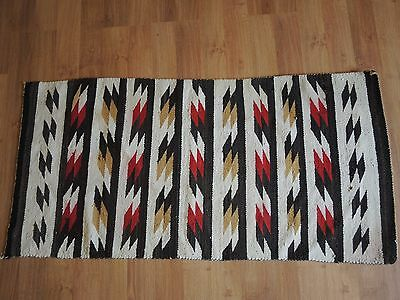 "Vintage Navajo Indian Rug 53"" X 26"" Native American"