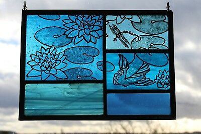 Stained Glass Painted Panel. Lily, Fish and Dragonfly and Pool of Blue Glass.