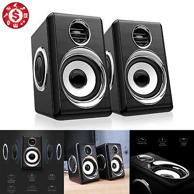 USB Computer Speakers Powered Loudspeaker PC Desk Laptop TV Stereo System