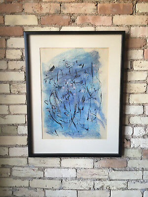 Vtg Pr Mid Century Modern Abstract Painting Drawing Watercolor - Signed