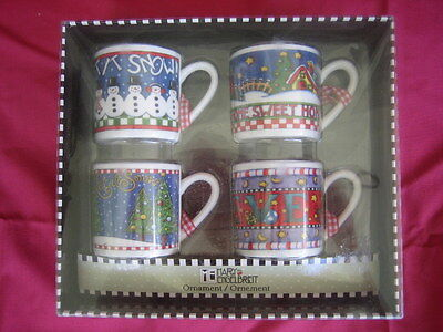 Vintage MARY ENGELBREIT ~ 4 cup ornaments ~ new in box ~ BELIEVE, LET IT SNOW, +
