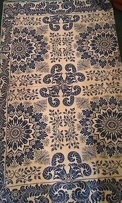 Early Vintage Loomed Coverlet Victorian Floral Scroll Design