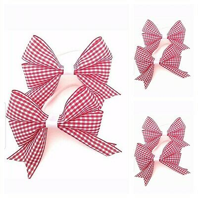 Handmade Girls Gingham Red School Hair Bow Bobbles Sold In Pairs