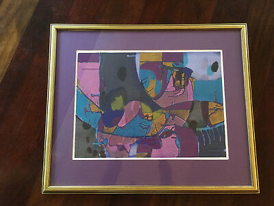 Vtg Mid Century Modern Bold Abstract Print Painting Lithograph - Signed