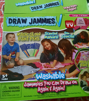 Draw Jammies Pajamas Pink Set Magic Glow Paint Pens,scented Markers Fun Stencils