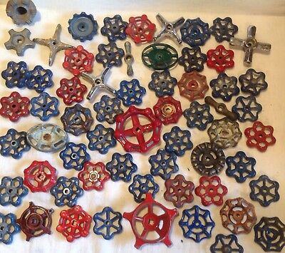 Sixty Vintage Valve Handles Water Faucet Knobs STEAMPUNK Industrial 60