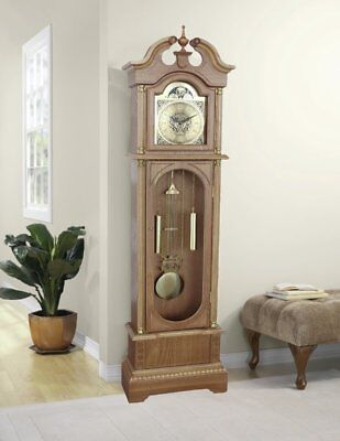 Vintage Grandfather Clock Antiqued Tall Wooden Traditional Longcase Glass Door
