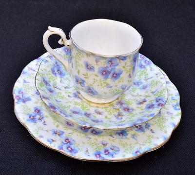 Vintage ROYAL ALBERT Bone China England BLUE PANSY CHINTZ Trio Cup Saucer Plate