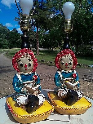 Matching Chalkware Plaster Raggedy Ann Lamps,Both Work,Vintage, Bedside