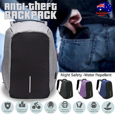 NEW Anti Theft Backpack Waterproof bag School Travel Laptop Bags USB Charging