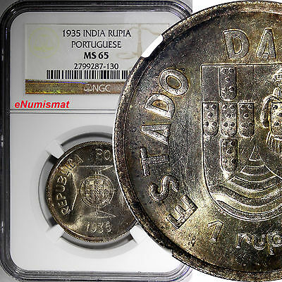 India-Portuguese Silver 1935 1 Rupia NGC MS65 Mintage-300,000 SCARCE KM# 22