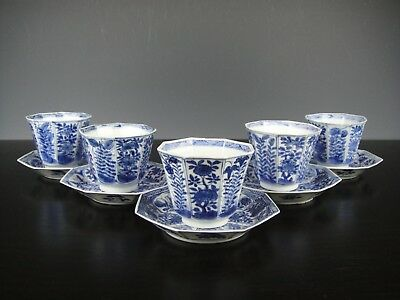 Set Of Five Chinese Porcelain B/W Cups&Saucers With Flowers.18th C.Kangxi.