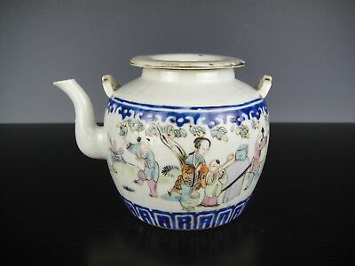 Very Nice Chinese Porcelain Teapot &Cover With Figures.19th C.