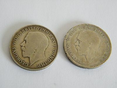 1922 and 1928 George V One Florin Coins