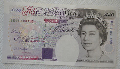 Bank of England 1993 20 Pounds Paper Bank Note Great Britain