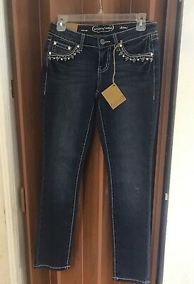 Project Indigo Jeans Juniors' Embroidered Bling Skinny Jeans Size 3
