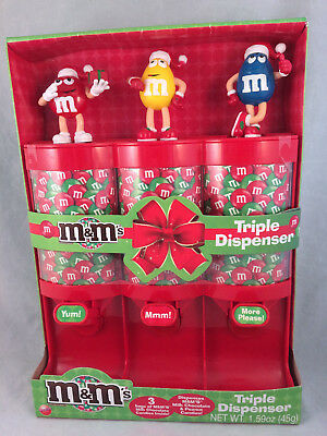 M&M's Red Mars Brand Candy TRIPLE DISPENSER HOLIDAY Red Yellow Blue