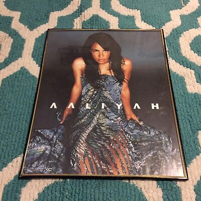 "Vintage 2002 Aaliyah 20"" X 16""' Framed Poster By Funky Enterprises"