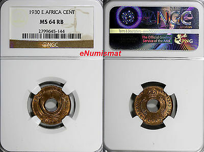 East Africa George V Bronze 1930 1 Cent NGC MS64 RB RED! Center hole KM# 22