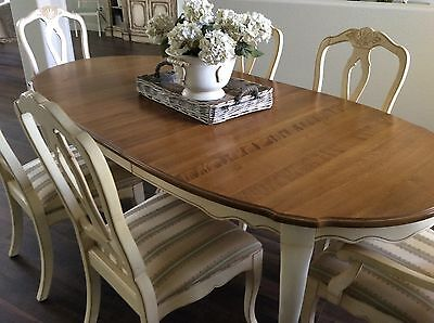Dining Set Table 6 Splat Back Chairs Leaves Country French By Ethan Allen