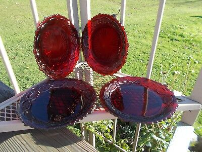 Avon Cape Cod Ruby Red 1876 Set of 4 Luncheon Plates Pre-Owned