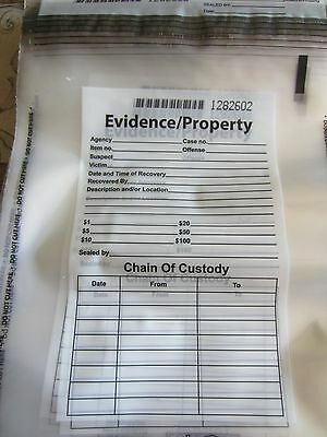 5 Police Evidence Bags, Self Sealing, Serialized, New