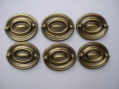 "Lot of 6 New 2 1/2"" Solid Brass Drawer Pulls W/Screws Furniture Front"