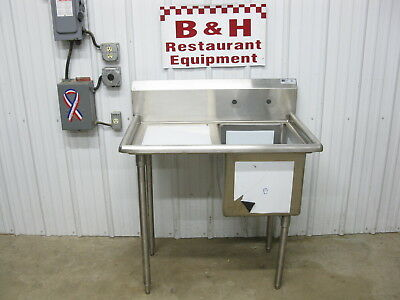 "John Boos 38"" Stainless Steel 16"" x 20"" 1 One Bowl Prep Sink Left Drain Board"