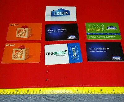 7 Card Variety Gift Card Lot No Cash Value Lowe's And Home Depot