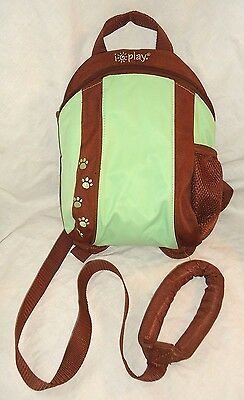 iPlay Toddler Backpack with Parent Safety Rein. Paw Prints. Green and Brown