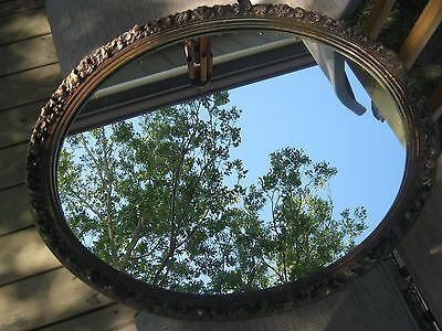 Vintage Oval Ornate Gold Painted Intricate Etched Carved Wood Gesso Mirror