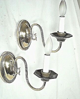 A Graceful Pair Of Oval Back Brass Sconces With Curved Arms +Black Glass Cups