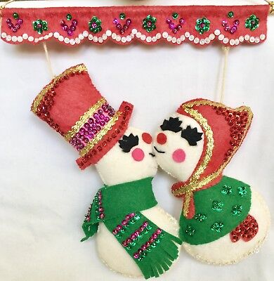 """Vintage Felt Kissing Snowmen Wall Hanging With Lots Of Sequins 11"""""""