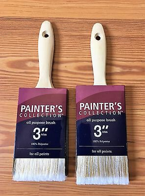 "Lot of 2 Painter's Collection All Purpose Polyester Paint Brush 3"" Trim"