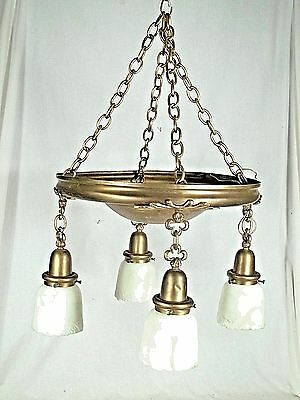 French victorian bronze 9 light converted gas chandelier antique victorian art nouveau brass 4 light chandelier with frosted shades aloadofball Image collections