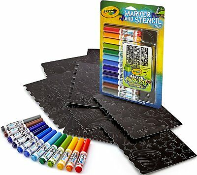 NEW CRAYOLA MARKER and Stencil Pack--8 Stencils, 12 Washable Pip