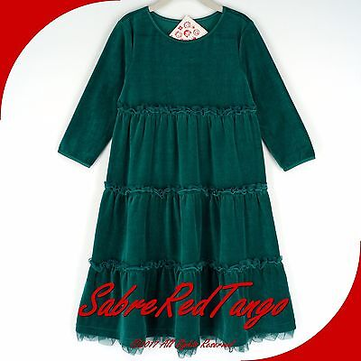 Nwt Hanna Andersson Velour Tutu Love To Twirl Dress Deep Forest Green 100 4T 4
