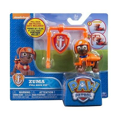 Paw Patrol Action Pack and Badge Assorted - ZUMA Pull Back Pup Orange