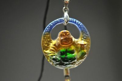 Delicate Chinese colored glaze hand carved  Buddha lucky Pendant  a6