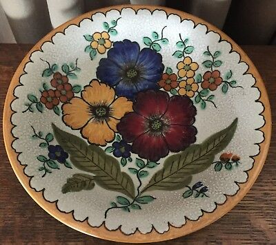 Vintage Areo Royal Gouda Shallow Bowl 1948 Blue, Red, Yellow Flowers w/ White