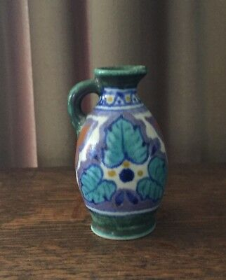 "Blaren 1923 Gouda Holland -3 1/8"" Pitcher w/ Handle - Turquoise, Lavender, White"