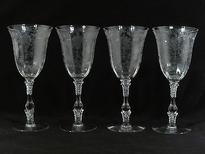 """Cambridge Crystal 3121 ROSE POINT 8 1/4"""" WATER GOBLETS - Set of 4"""