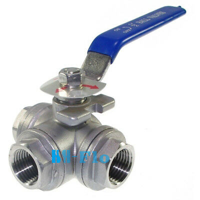 "DN25 G1"" BSPP Female 3-Way T-Port 304 Stainless Steel Ball Valve Water Oil"