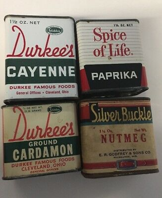 LOT OF 4 VINTAGE SPICE TIN CAN Durkees Silver Buckle Spice Of Life