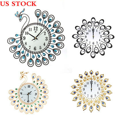 New Vintage Style Metal Peacock Antique Wall Clock Home Office Decor Art Design