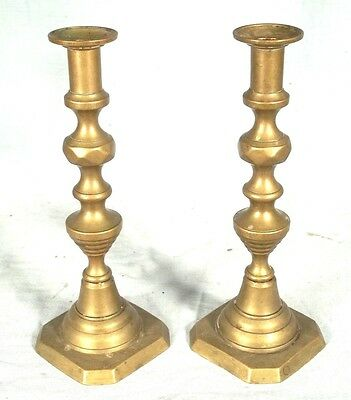 ANTIQUE PAIR OF 19th CENTURY BRASS PUSH UP BEEHIVE CANDLESTICKS