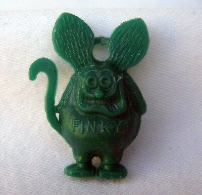 Vintage Ed Roth Mini Miniature Green Rat Fink Finky Charm Two Ring Holes