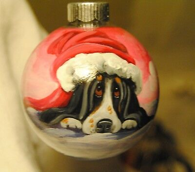Original Painting~Basset Hound~Dog~Christmas Ornament~Hand Painted~Whimsical~ART