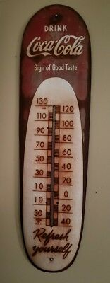 "VINTAGE RARE COCA COLA ""CIGAR""  THERMOMETER 30""x8"" Great Patina"